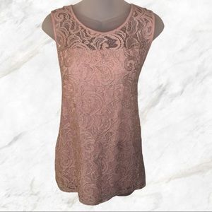 Blush Adrianna Papell Sleeveless Lace Top
